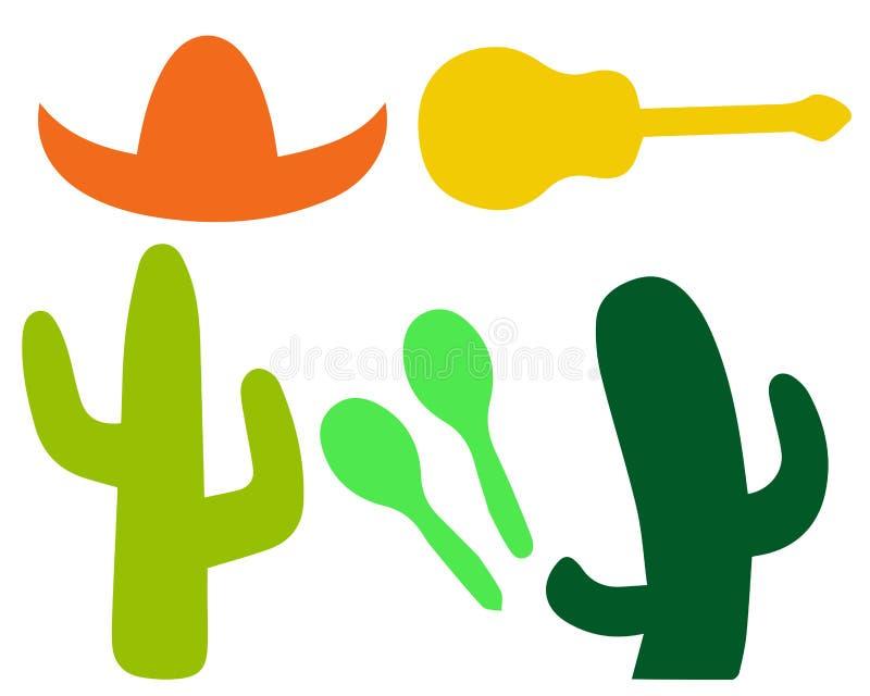 Σύνολο σε ένα μεξικάνικο θέμα διανυσματική απεικόνιση