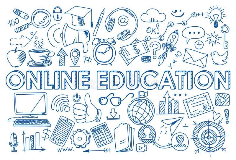 Σύνολο σε απευθείας σύνδεση εικονιδίων εκπαίδευσης στο ύφος doodle ελεύθερη απεικόνιση δικαιώματος