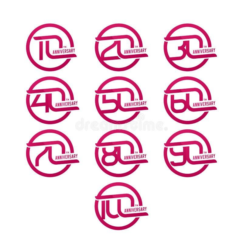 Σύνολο σημαδιών επετείου από 10ο σε 100ο διάνυσμα χρήσης αποθεμάτων απεικόνισης σχεδίου σας απεικόνιση αποθεμάτων