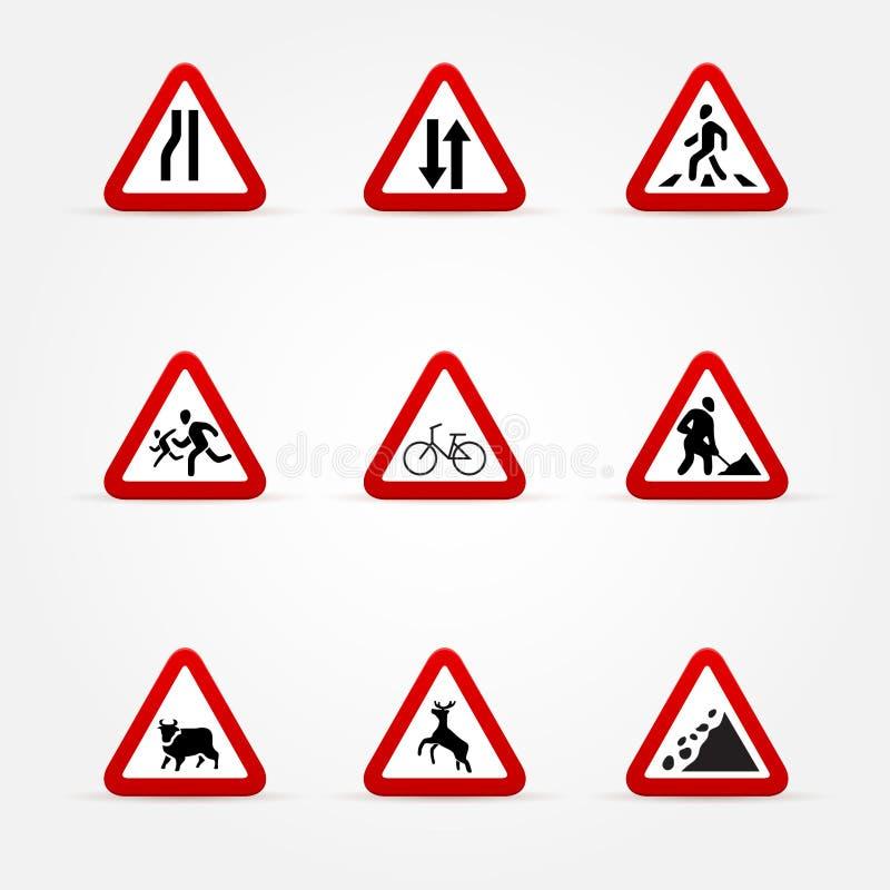 Σύνολο σημαδιών κυκλοφορίας προειδοποίησης ελεύθερη απεικόνιση δικαιώματος
