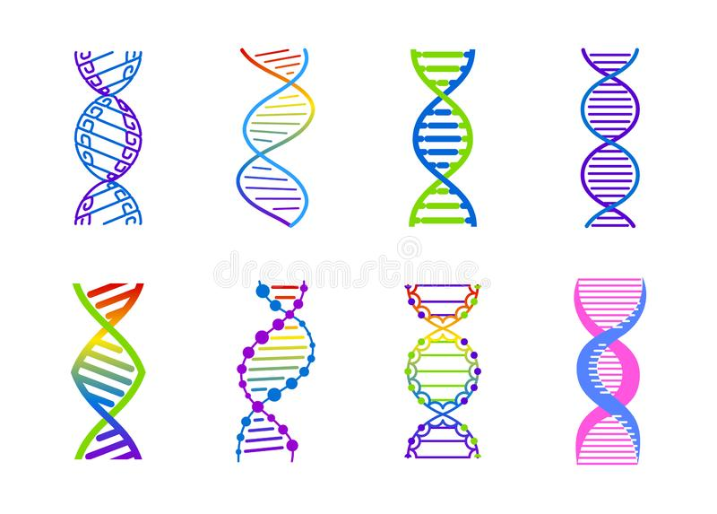 Σύνολο σημαδιών μορίων DNA, γενετικά στοιχεία και σκέλος συλλογής εικονιδίων Διανυσματική απεικόνιση κλίσης χρώματος διανυσματική απεικόνιση