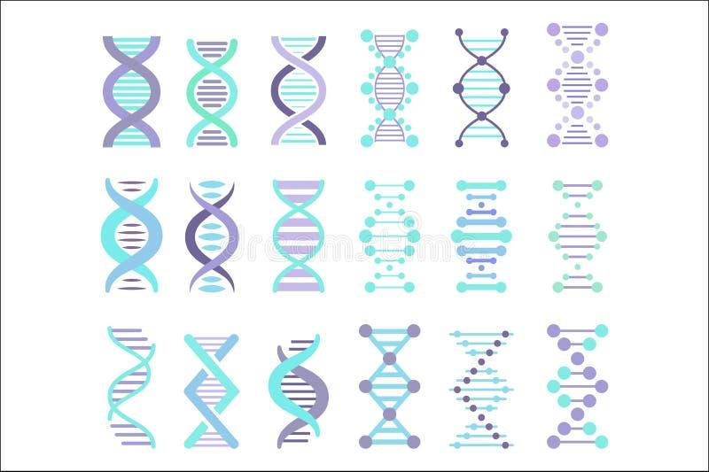 Σύνολο σημαδιών μορίων DNA, γενετική προσωπική διανυσματική απεικόνιση συμβόλων κώδικα διανυσματική απεικόνιση