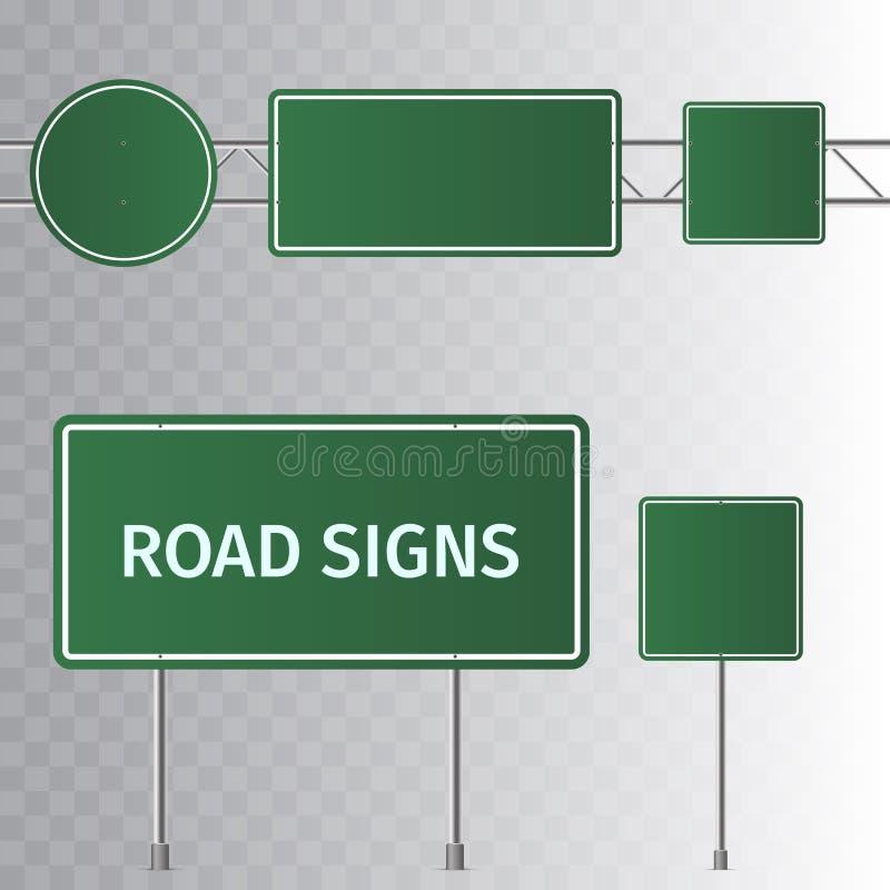 Σύνολο σημαδιών οδικής πράσινων κυκλοφορίας Κενός πίνακας με τη θέση για το κείμενο Απομονωμένος στο διαφανές υπόβαθρο απεικόνιση αποθεμάτων