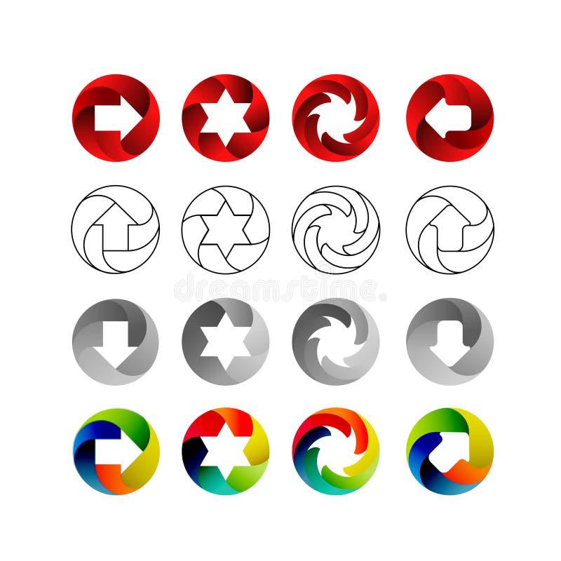 Σύνολο σημαδιών, στις κυκλικές μορφές με τις σκιές μέσα Βέλη, αστέρια, στρόβιλος στον κύκλο Σύνολο λογότυπων, διάνυσμα διανυσματική απεικόνιση