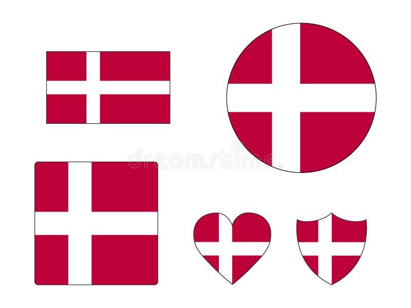 Σύνολο σημαιών της Δανίας ελεύθερη απεικόνιση δικαιώματος