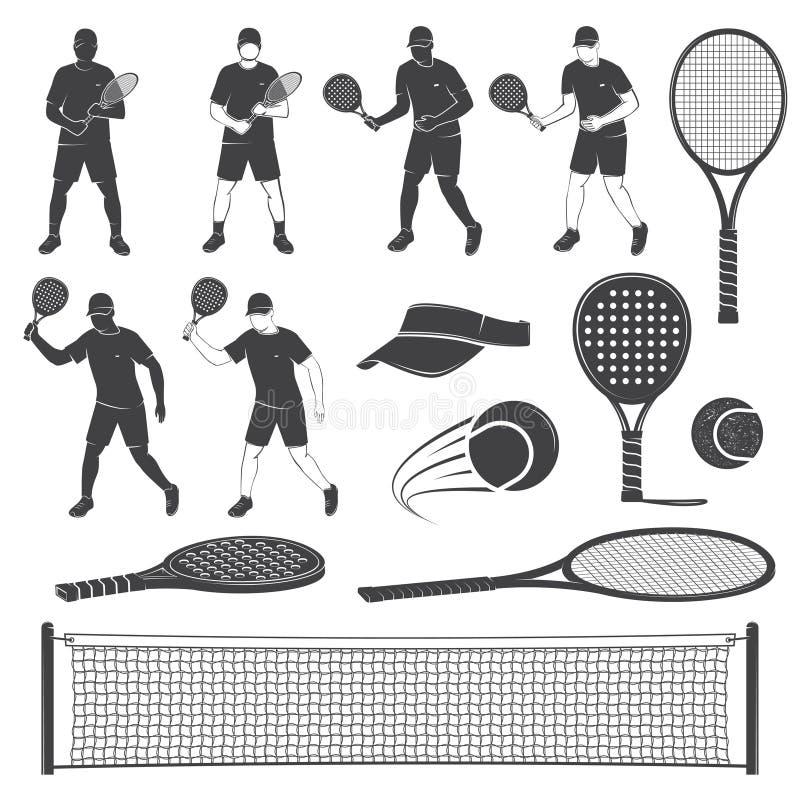 Σύνολο σκιαγραφιών εξοπλισμού αντισφαίρισης και αντισφαίρισης κουπιών επίσης corel σύρετε το διάνυσμα απεικόνισης απεικόνιση αποθεμάτων