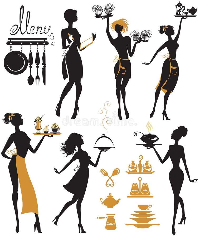 Σύνολο σκιαγραφιών κοριτσιών, σερβιτόρα με το δίσκο, που απομονώνεται στο άσπρο β απεικόνιση αποθεμάτων