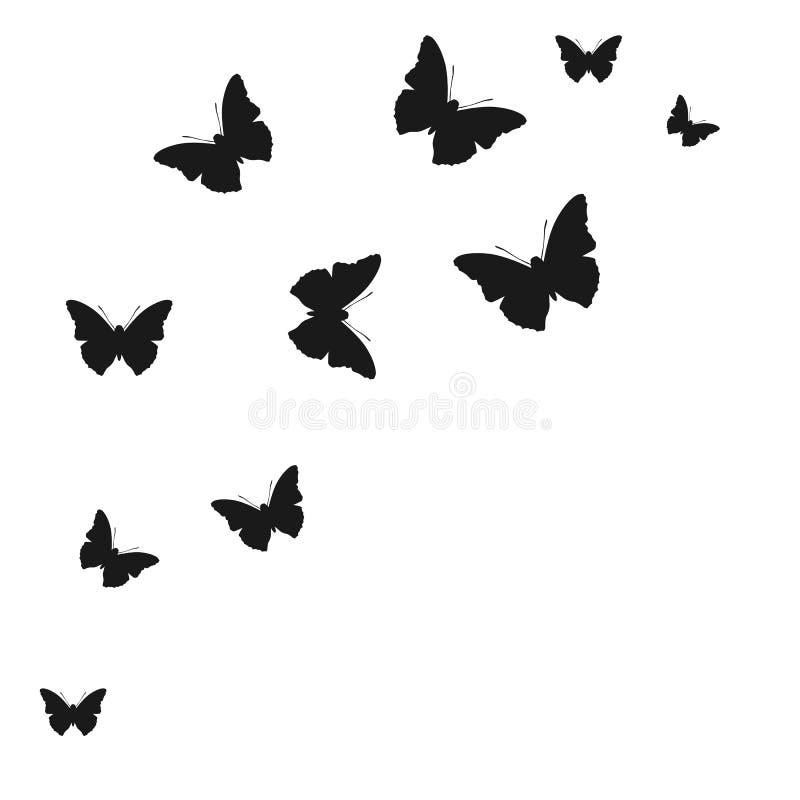 Σύνολο σκιαγραφιών πεταλούδων στο άσπρο υπόβαθρο - διάνυσμα ελεύθερη απεικόνιση δικαιώματος