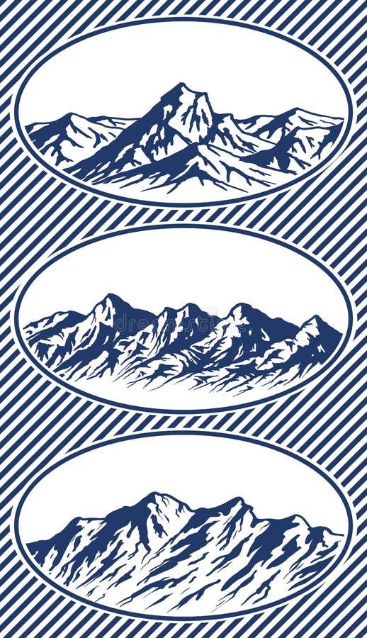 Σύνολο σκιαγραφιών σειράς βουνών ελεύθερη απεικόνιση δικαιώματος