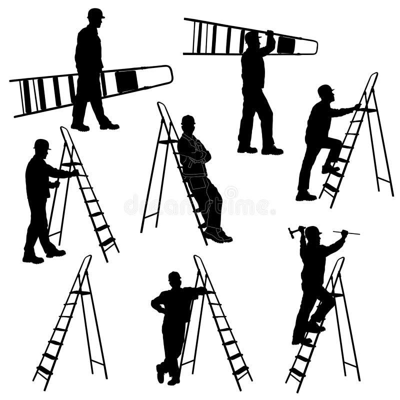 Σύνολο σκιαγραφιών του εργαζομένου με το stepladder απεικόνιση αποθεμάτων