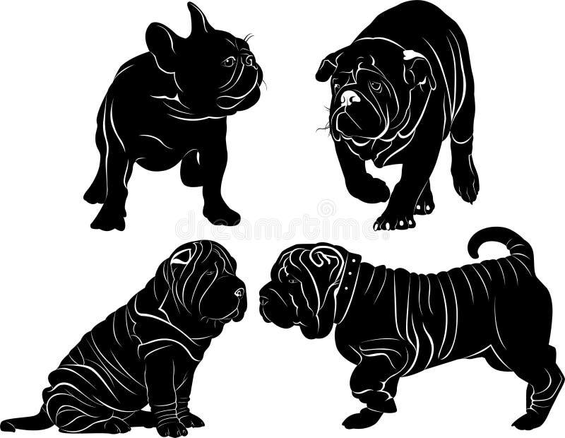 Σύνολο σκιαγραφιών των σκυλιών απεικόνιση αποθεμάτων