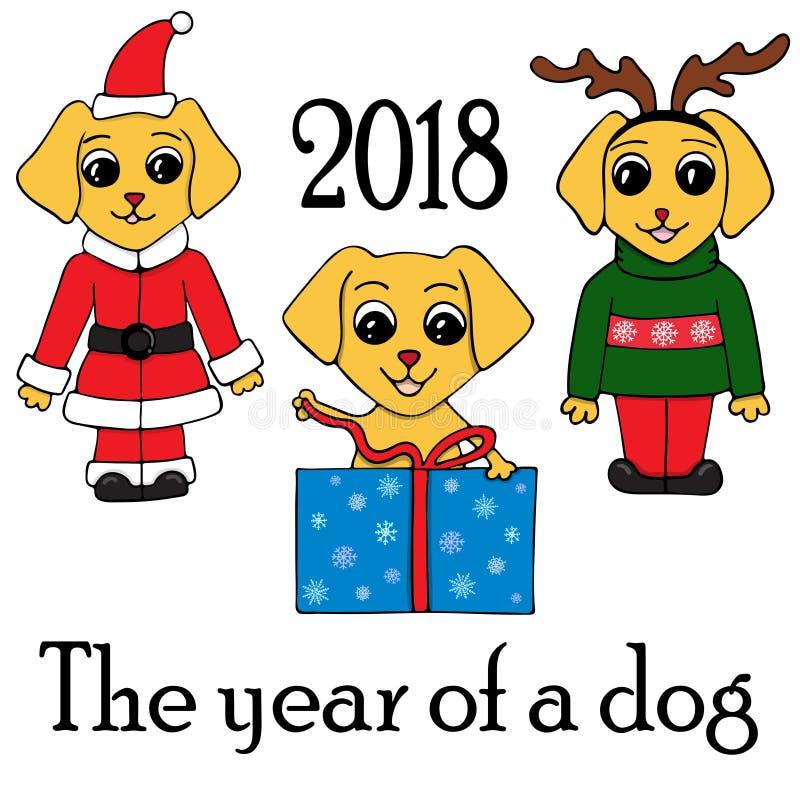 Σύνολο 3 σκυλιών στα νέα κοστούμια έτους ` s Σύμβολο του 2018 διανυσματική απεικόνιση