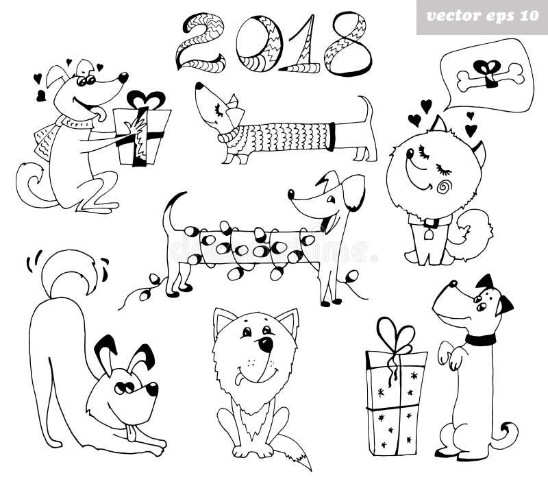 Σύνολο σκυλιών διανυσματική απεικόνιση