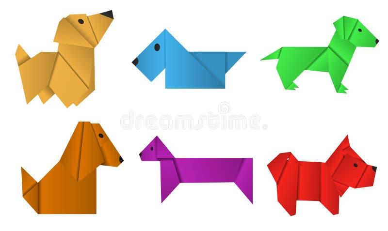 Σύνολο σκυλιών origami εγγράφου Σύμβολο του έτους 2018 διανυσματική απεικόνιση