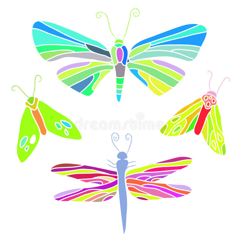 σύνολο σκώρων απεικόνισης λιβελλουλών πεταλούδων διανυσματική απεικόνιση