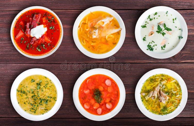 Σύνολο σουπών από τις παγκόσμιες κουζίνες, υγιή τρόφιμα στοκ εικόνα με δικαίωμα ελεύθερης χρήσης