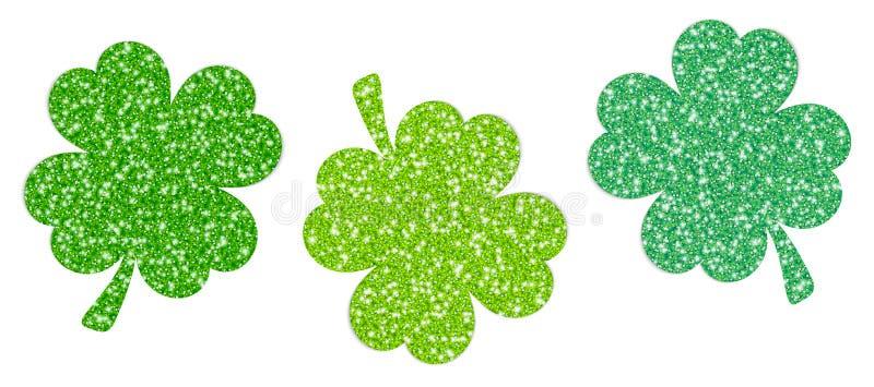 Σύνολο σπινθηρίσματος τριών τριφυλλιών πράσινου διανυσματική απεικόνιση