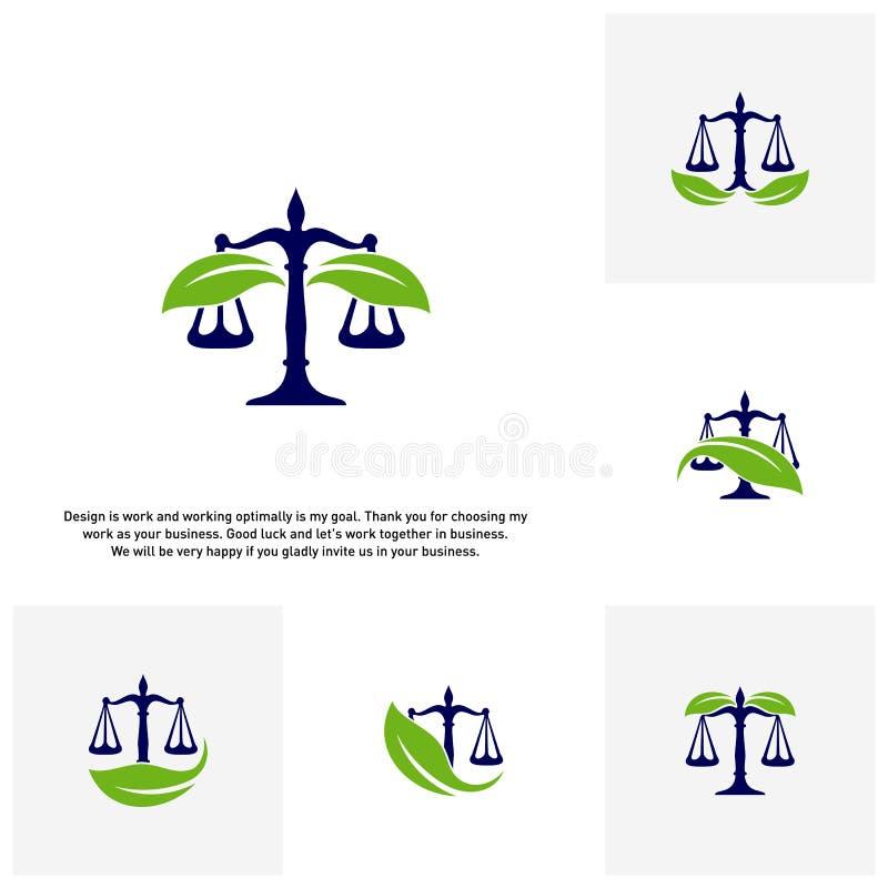 Σύνολο σταθερού προτύπου λογότυπων νόμου φύσης Πράσινες έννοιες λογότυπων κλιμάκων Εταιρία νόμου με το διάνυσμα λογότυπων φύλλων ελεύθερη απεικόνιση δικαιώματος