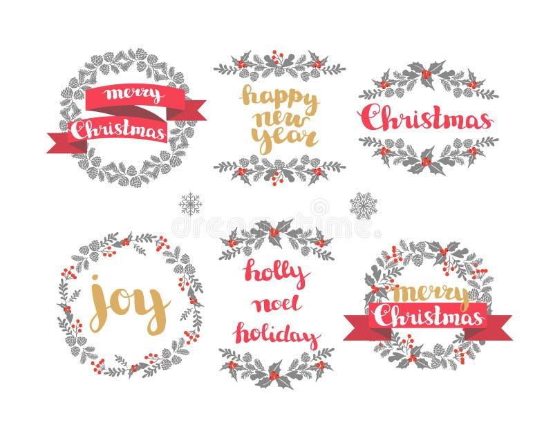 Σύνολο στεφανιών χειμερινών Χριστουγέννων, διανυσματικά στοιχεία σχεδίου ελεύθερη απεικόνιση δικαιώματος