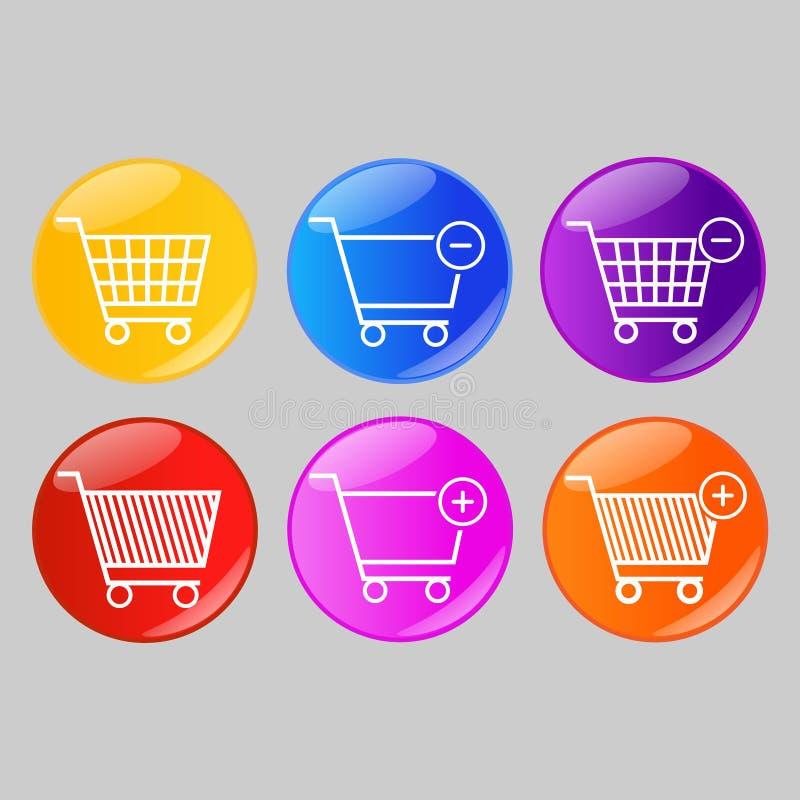 Σύνολο στιλπνών κουμπιών κάρρων αγορών απεικόνιση αποθεμάτων