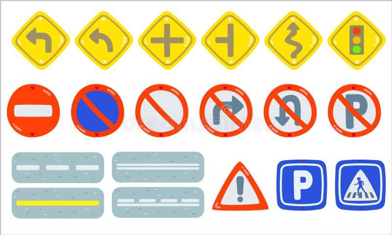Σύνολο στοιχείου σημαδιών κυκλοφορίας, κυκλοφορίας συλλογής κυκλοφορία-οδικών σημαδιών υποχρεωτικής, απαγόρευσης και πληροφοριών, διανυσματική απεικόνιση