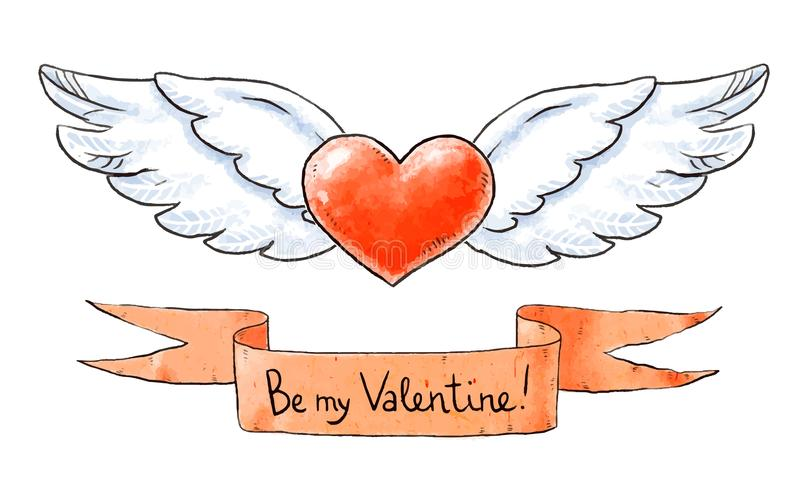 Σύνολο στοιχείων αγάπης για την ημέρα βαλεντίνων Η φτερωτή καρδιά και είναι η εγγραφή βαλεντίνων μου επίσης corel σύρετε το διάνυ ελεύθερη απεικόνιση δικαιώματος