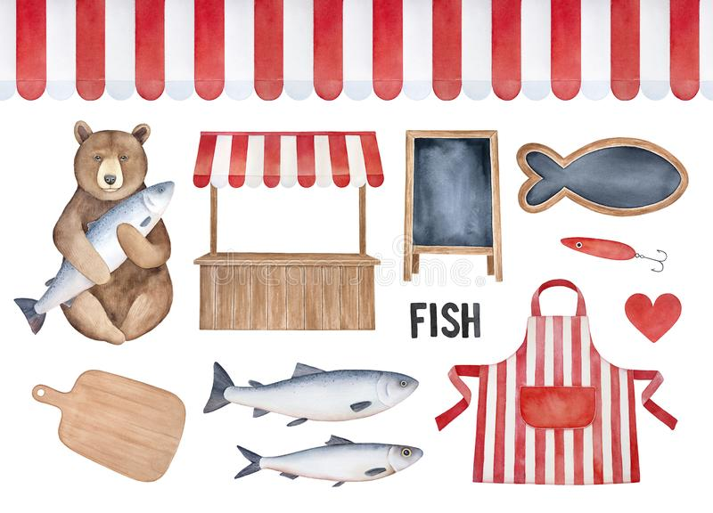 Σύνολο στοιχείων αγοράς ψαριών Άνευ ραφής ριγωτό awning, παραδοσιακός στάβλος οδών, εμπορική ποδιά, ξύλινος τέμνων πίνακας, σημάδ διανυσματική απεικόνιση