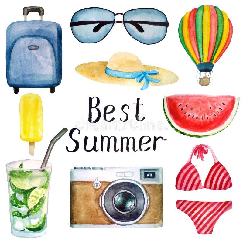 Σύνολο στοιχείων θερινού watercolor: βαλίτσα, γυαλιά, καπέλο, μπαλόνι, μαγιό, κάμερα, παγωτό, κοκτέιλ mojito, καλύτερο καλοκαίρι διανυσματική απεικόνιση