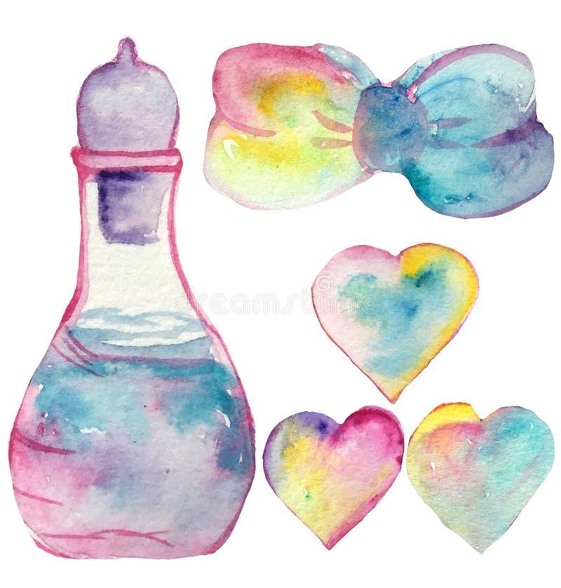 Σύνολο στοιχείων - μαγικό ελιξίριο, καρδιές ουράνιων τόξων και τόξο απεικόνιση watercolor για την τυπωμένη ύλη και τις αφίσες απεικόνιση αποθεμάτων