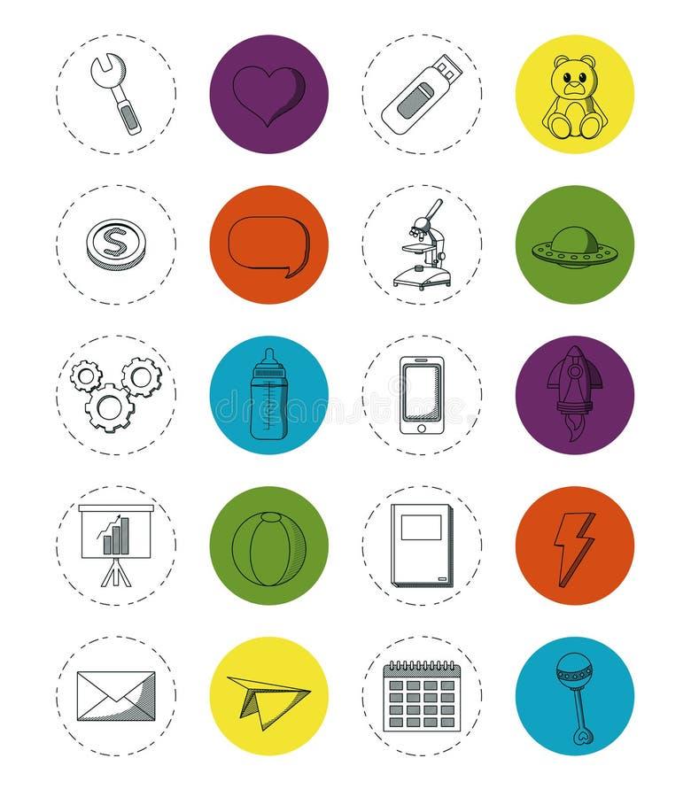 Σύνολο στοιχείων doodles διανυσματική απεικόνιση