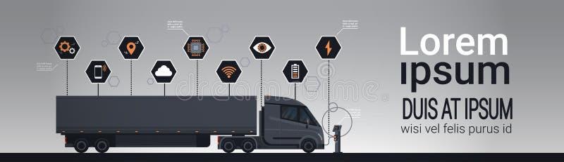 Σύνολο στοιχείων Infographic με το σύγχρονο ημι ρυμουλκό φορτηγών που χρεώνει στο εκλεκτικό πρότυπο σταθμών φορτιστών οριζόντιο ελεύθερη απεικόνιση δικαιώματος