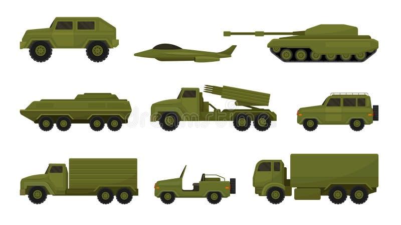 Σύνολο στρατιωτικού εξοπλισμού Διανυσματική απεικόνιση σε λευκό φόντο διανυσματική απεικόνιση