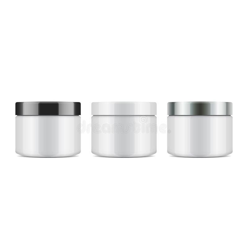 Σύνολο στρογγυλού άσπρου πλαστικού βάζου με το καπάκι για τα καλλυντικά Διανυσματικό πρότυπο προτύπων διανυσματική απεικόνιση