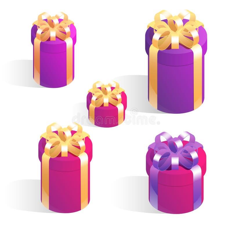 Σύνολο στρογγυλών κιβωτίων δώρων Ισομετρικά διανυσματικά εικονίδια απομονωμένα σε λευκό φόντο διανυσματική απεικόνιση