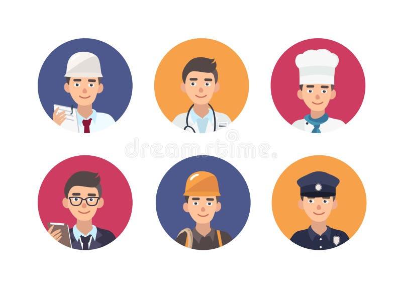 Σύνολο στρογγυλών πορτρέτων των ευτυχών ανθρώπων των διάφορων επαγγελμάτων Δέσμη των χαριτωμένων αρσενικών χαρακτηρών κινουμένων  διανυσματική απεικόνιση