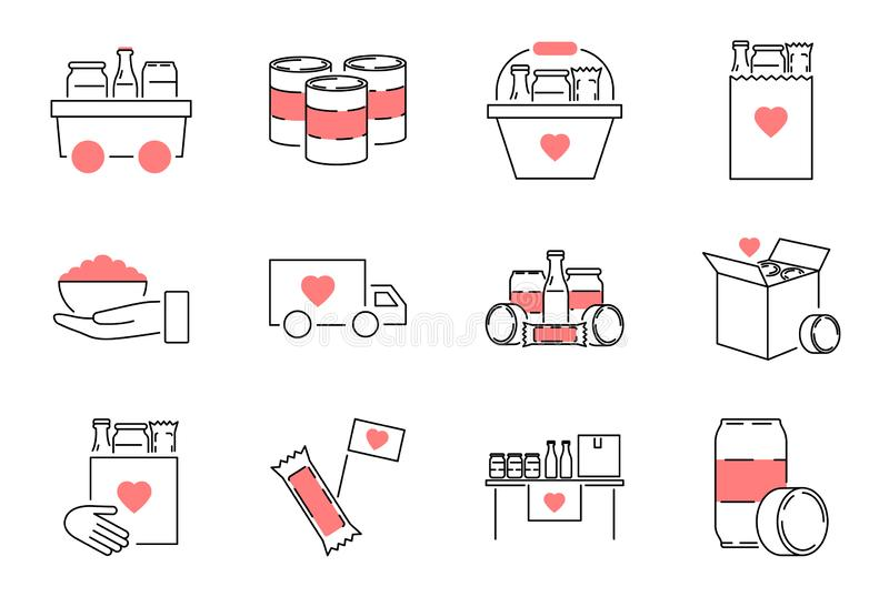 Σύνολο συλλογής εικονιδίων περιλήψεων κίνησης τροφίμων Διανυσματική απεικόνιση γεύματος φιλανθρωπίας απεικόνιση αποθεμάτων