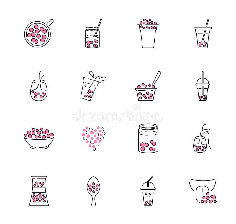 Σύνολο συλλογής εικονιδίων περιλήψεων τσαγιού φυσαλίδων Boba γάλακτος στη διανυσματική απεικόνιση βάζων ή κουπών διανυσματική απεικόνιση
