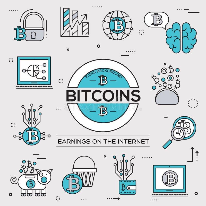 Σύνολο συλλογής εικονιδίων περιλήψεων Bitcoin Σύγχρονο πακέτο συμβόλων τεχνολογιών γραμμικό Πρότυπο των λεπτών εικονιδίων γραμμών ελεύθερη απεικόνιση δικαιώματος
