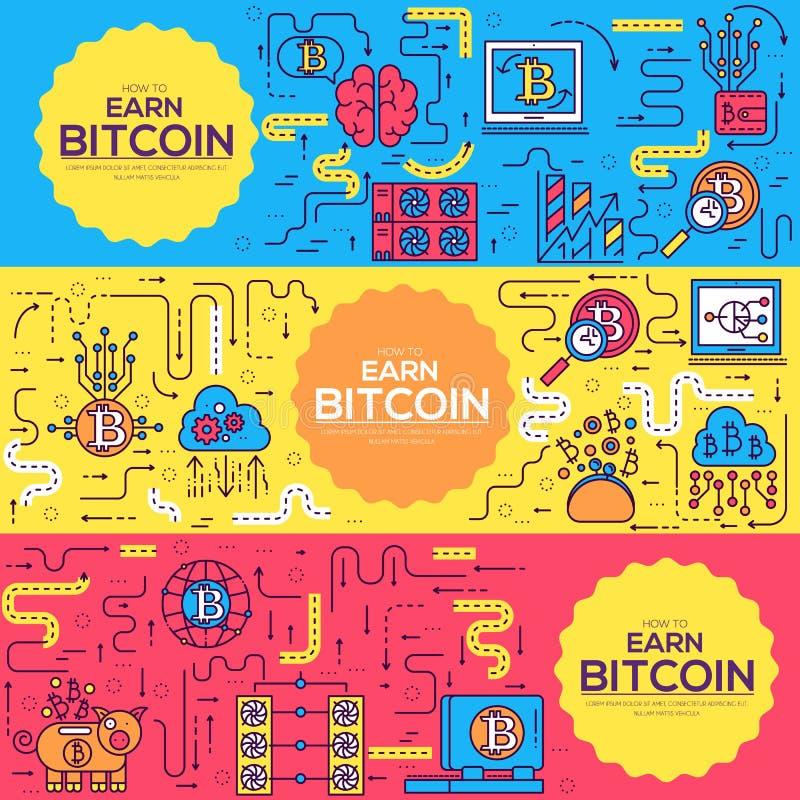 Σύνολο συλλογής εικονιδίων περιλήψεων Bitcoin Σύγχρονο πακέτο συμβόλων τεχνολογιών γραμμικό Πρότυπο των λεπτών εικονιδίων γραμμών απεικόνιση αποθεμάτων