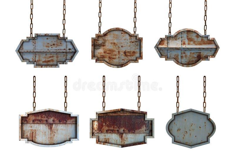 Σύνολο συλλογής πίνακα σημαδιών μεταλλικών πιάτων με τις αλυσίδες στοκ φωτογραφίες με δικαίωμα ελεύθερης χρήσης