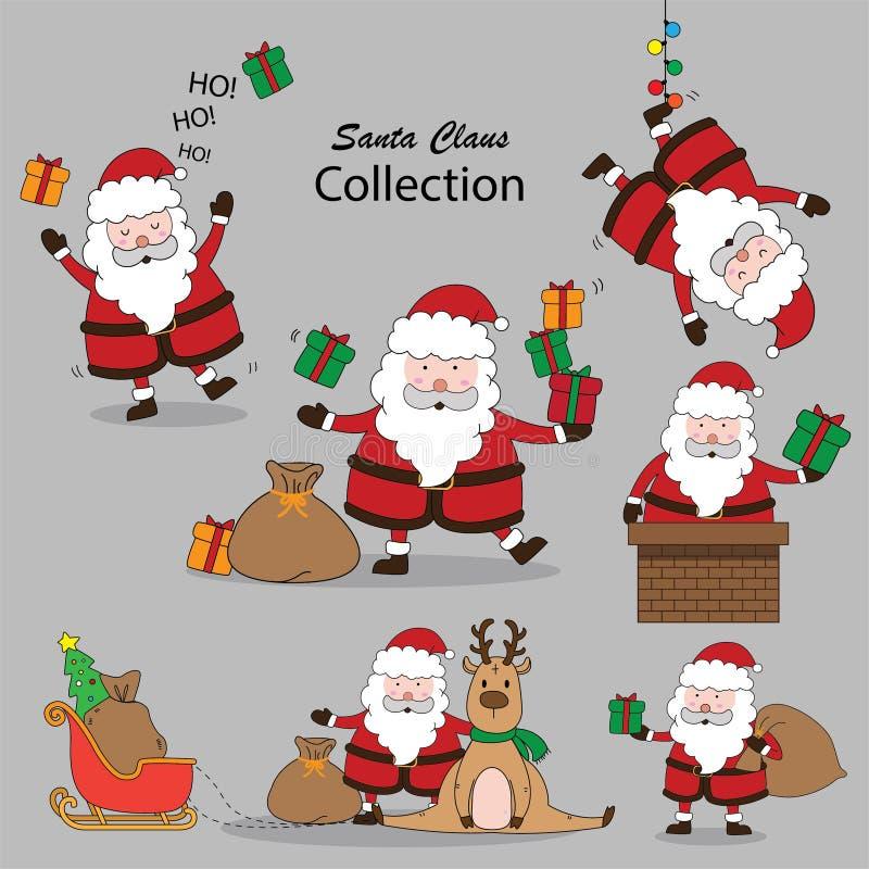 Σύνολο συλλογής Vector Santa Claus στοκ φωτογραφίες