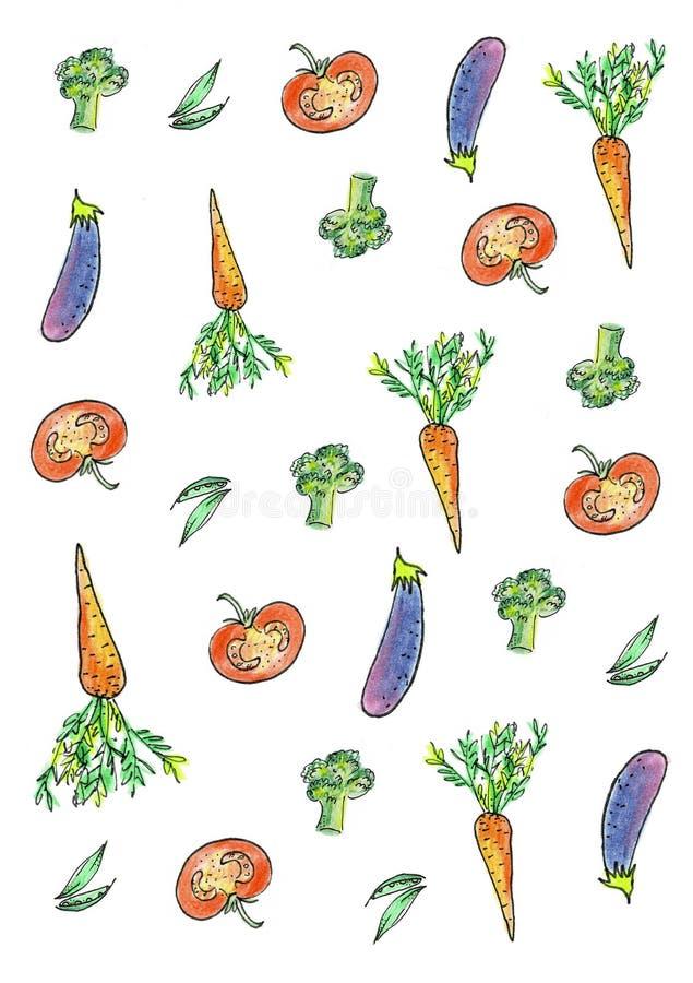Σύνολο, συλλογή των φρέσκων λαχανικών Συρμένη χέρι ζωγραφική watercolor στο άσπρο υπόβαθρο ελεύθερη απεικόνιση δικαιώματος