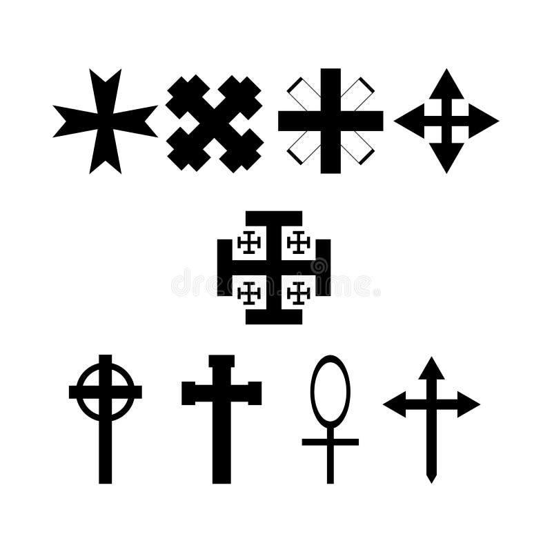 Σύνολο συμβολικών σταυρών Εικονίδια συλλογής r διανυσματική απεικόνιση