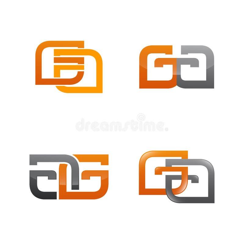 Σύνολο συμβόλου για το πρότυπο σχεδίου επιχειρησιακών λογότυπων Συλλογή των σύγχρονων εικονιδίων περιλήψεων για την οργάνωση διανυσματική απεικόνιση