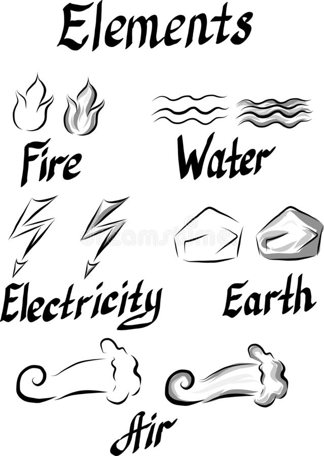 Σύνολο συμβόλων των στοιχείων διανυσματική απεικόνιση
