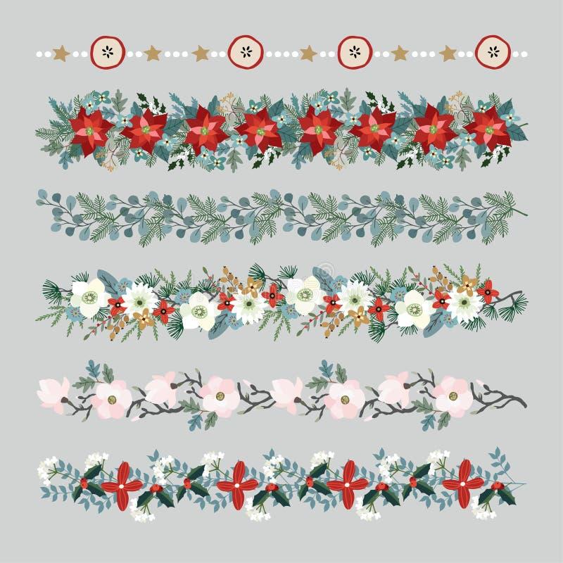 Σύνολο συνόρων, σειρών, γιρλαντών ή βουρτσών Χριστουγέννων Διακόσμηση κόμματος με τους κλάδους δέντρων έλατου και ευκαλύπτων απεικόνιση αποθεμάτων