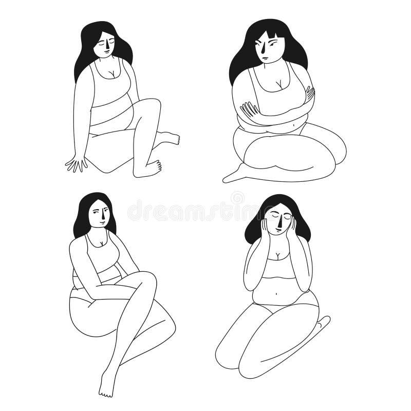 Σύνολο συν τις γυναίκες μεγέθους Θετική έννοια σώματος r διανυσματική απεικόνιση