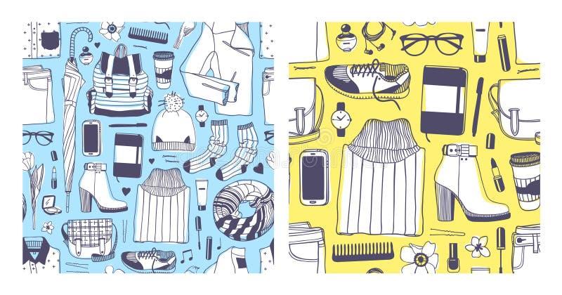 Σύνολο συρμένης χέρι απεικόνισης μόδας Δημιουργική εργασία τέχνης μελανιού Το πραγματικό διανυσματικό ελατήριο σχεδίων κοιτάζει Ά ελεύθερη απεικόνιση δικαιώματος