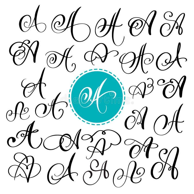 Σύνολο συρμένου χέρι διανυσματικού γράμματος Α καλλιγραφίας Πηγή χειρογράφων Απομονωμένες επιστολές που γράφονται με το μελάνι Χε απεικόνιση αποθεμάτων
