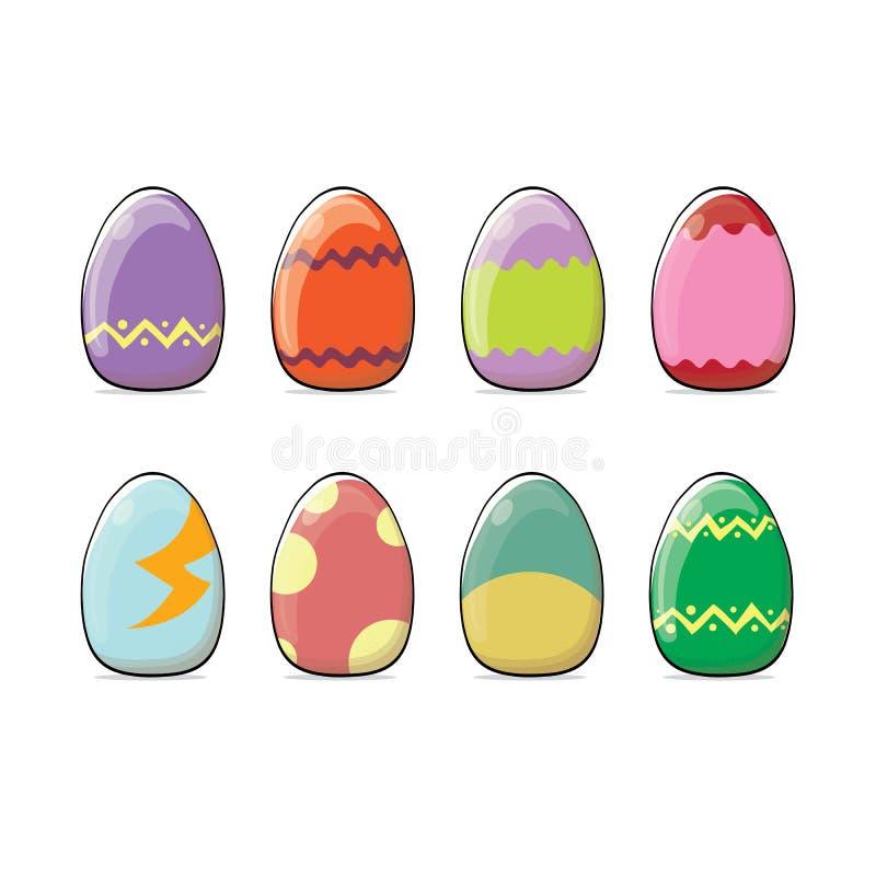 Σύνολο συρμένων αυγών Πάσχας χρώματος χέρι με τη διαφορετική σύσταση που απομονώνεται σε ένα άσπρο υπόβαθρο Διακοπές άνοιξη διάνυ ελεύθερη απεικόνιση δικαιώματος